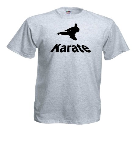 Karate T234 Unisex T-Shirt Textilfarbe: grau, Druckfarbe: schwarz