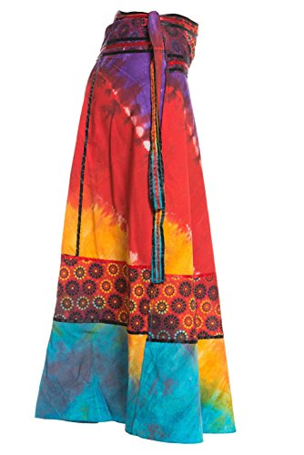 Wickelrock Goa Batik - Bunter Maxi Rock lang aus Indien, 92 cm lang, mit Bändern - von Ufash Blau 4