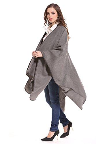 ManuMar Poncho Coperta Cape mantello reversibile Poncho. Grau