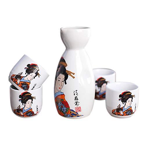 Panbado Japanisch Sake Set aus Steinzeug, 5-teilig, mit 1 Sake Flasche und 4 Sakebecher in Einer Geschenkverpackung 4 Sake