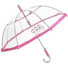 Paraguas Transparente Niña con Brillo en el Mango y Borde en Tul Rosa Fluor - Apertura
