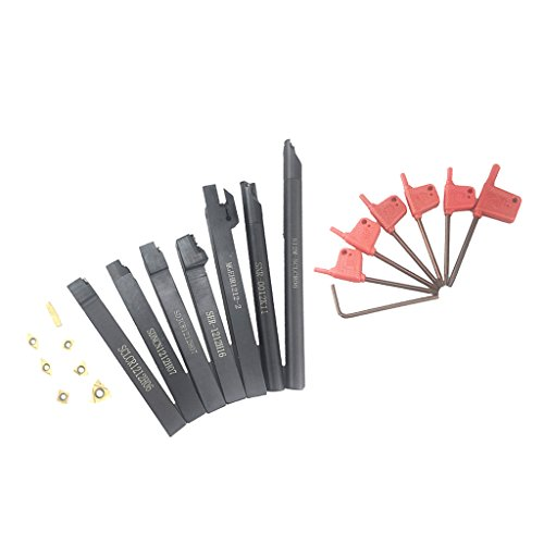 Baoblaze Drehbank Bohrstange Drehwerkzeug Drehmaschinen Halter(7Stück) Karbid Einlagen(7Stück) und Schraubschlüssel(7Stück)