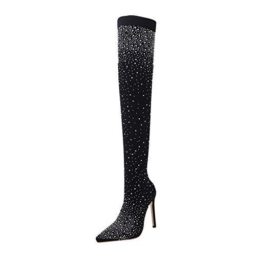 Xiedeai Mujer Zapatos Diamante de Imitación Tela Elástica Botas de Muslo - Señoras Sexy Estiletes...