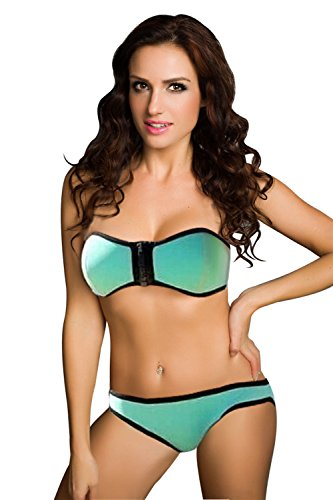 Ninimour Damen Bikini Satz Paisley Push-up Tops und Gebändert Low-rise Bottom Wattierten Cups Triangel Badeanzug (Large, Z-Blau) (Rise Bottom Bikini Low)