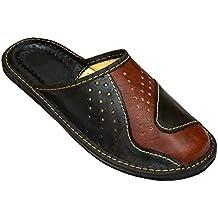 a90de9bb2d97f BeComfy Chaussures en Cuir pour Homme Chaussons Mules en Veritable Cuir  Resistance de Materiaux Coloris Disponibles