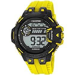 Calypso Herren Digitale Armbanduhr mit LCD Dial Digital Display und Gelb Kunststoff Gurt k5696/1