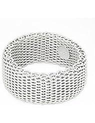 Ecloud Shop® Tejido Somerest Flexible Malla Cadena Enlace anillos de plata esterlina