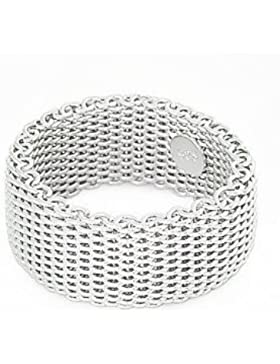 Ecloud Shop® Gewebte Flexible Somerest Netz Chain Link Ringe Sterling Silber Draht