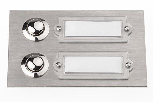 HUBER Klingeltaster Edelstahl 12507, 2-fach unter Putz, rechteckig, mit Namensschild
