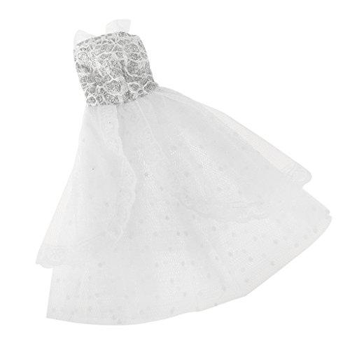 Sharplace Handgemachte Puppe Kleid Hochzeitskleid Kleidung für Barbie -