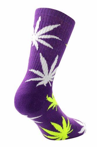 Für Männer Weed-socken (Samson Strumpfwaren® Marihuana Pure & Natural Weed Leaf Muster Design Socken Baumwolle Rich UK Schuhgröße 6–11 Gr. L, Weed Purple)