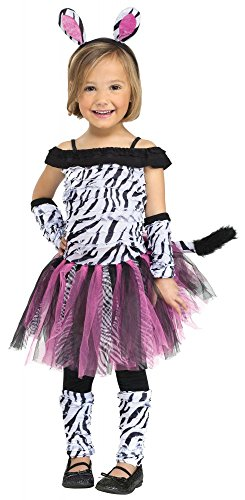 shoperama Süßes Mädchen Kostüm - Zebra Fuzzy - Tutu Tierkostüm Kinderkostüm, Größe:92 - 1 bis 2 Jahre