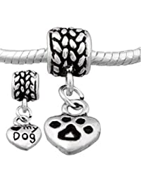 I Love My Dog Dangle Charm Bead