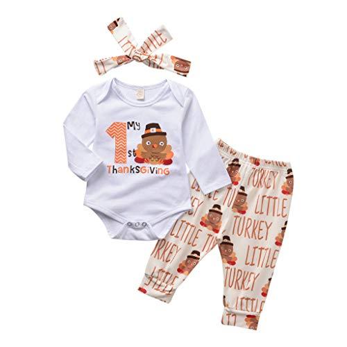 Patifia Kleinkind Baby Mädchen Bekleidungssets 2tlg Lange Hülsen Strampler Türkei drucken Spielanzug + Hosen Thanksgiving-Kostüm Süß Outfits