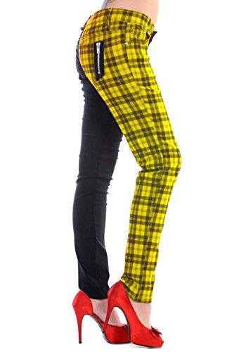 Pantalones de cuadros amarillos ajustados para mujer