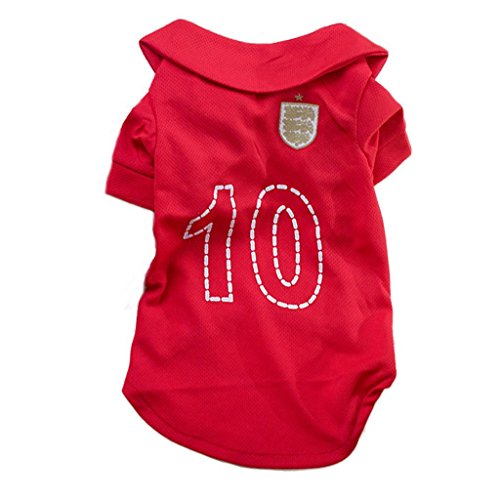 XHD-Haustierkleidung Haustier Hund Fußball Kleidung Welpen Fußball T-shirt Hund Pullover Für England Auswärts Sport Jersey ( Size : S(Back:27cm Chest:33cm) ) (S/s Jersey Entfernt)