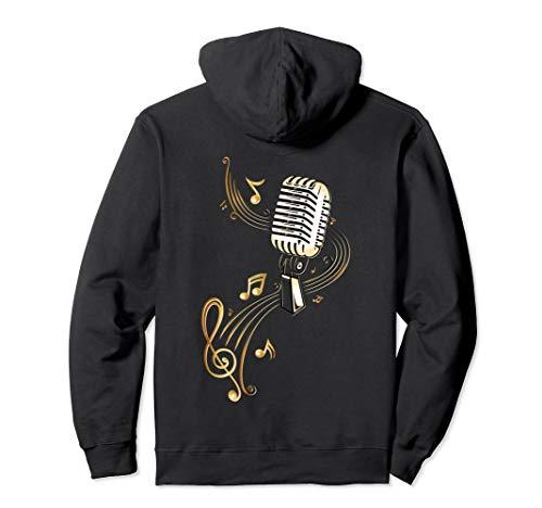 Retro Musik Mikrofon mit Musiknoten und Notenschlüssel Pullover Hoodie (Country Musik Kostüm)