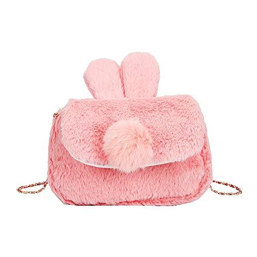 Rrunzfon Kaninchen-Umhängetasche Fluffy Umhängetasche Münzbeutel Kette Riemen Handtasche für Mädchen-Frauen-Telefon-Beutel-Rosa