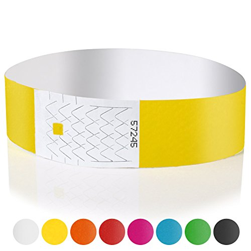 Amazy Entrance Wristbands 100 Printable Numbered Bracelets For Event Security Yellow