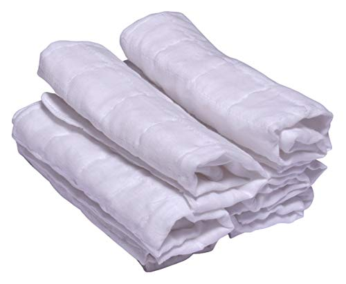 MK Handicraft Baby Boy's and Baby Girl's Cotton Towel,White, Large- Set of 6 Pieces