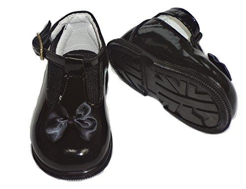 Baby Schuhe zur Taufe, für Mädchen, verschiedene Größen für 2 bis 6 UK, Rot, Schwarz, Elfenbeinfarben/Pink Schwarz - Schwarz
