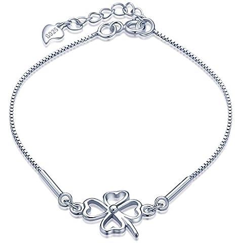 Unendlich U Fashion Vierblättriges Kleeblatt Damen Charm-Armband 925 Sterling Silber Armkette Verstellbar Armkettchen, Silber