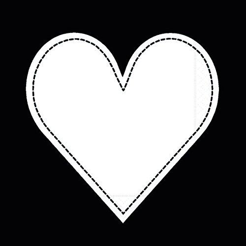 black - Herz weiß auf schwarz / Herzmotiv 33x33cm ()