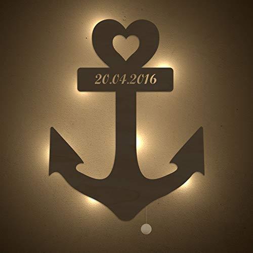 homeful Personalisiertes Nachtlicht Anker mit Herz Schlummerlicht Valentinstag Hochzeitstag Lampe Motiv Persönlich Handarbeit Unendlich Zeichen Geschenk mit Name