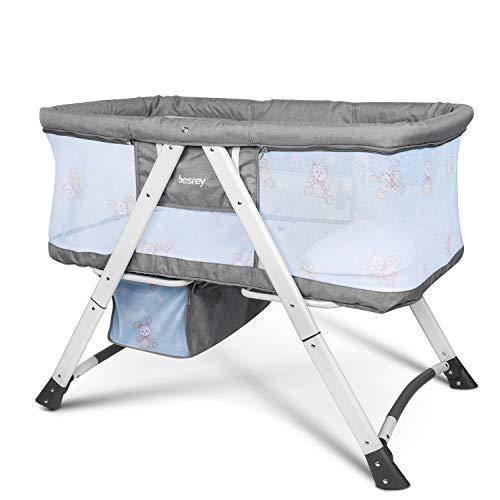 Besrey Stubenwagen und Reisebett. Es ist mit einer Matratze, Kissen und Moskitonetzen ausgestattet. Grau