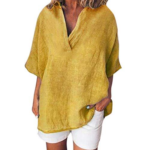 r Einfacher Stil Lose Mode BeiläUfig Damen Vintage Kurzarm V-Ausschnitt Baumwolle Leinen BeiläUfiges Loses T-Shirt Bluse ()