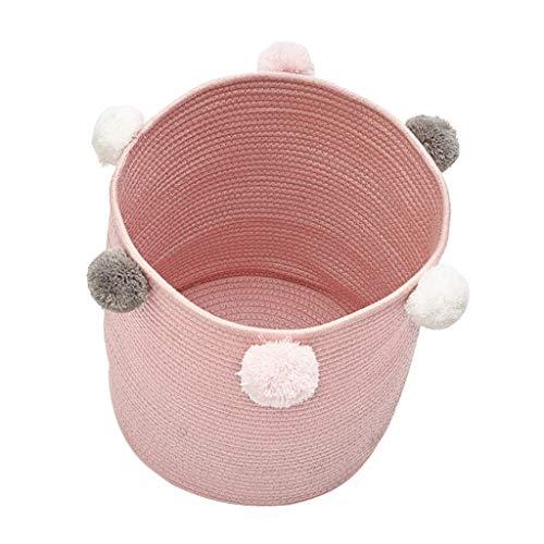 F Fityle Baumwolle Ablagekorb Wäschekorb Aufbewahrungsbox Körbe mit Griff für Kinderzimmer Wohnzimmer - Rosa