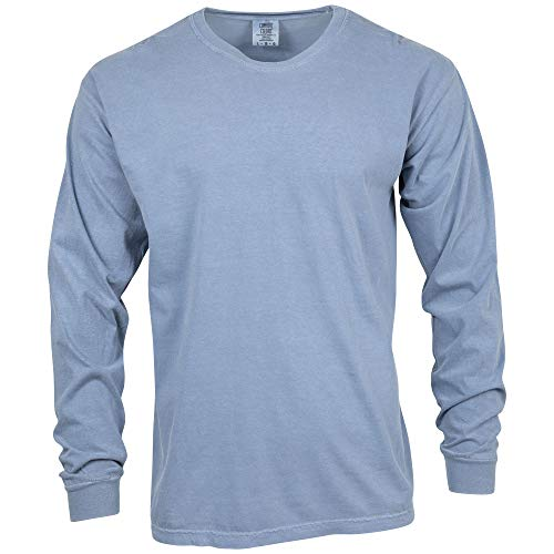 Comfort Colors Unisex-Erwachsene Adult Long Sleeve Tee T-Shirt, Blue Jean, Klein - Adult Heavyweight Long Sleeve T-shirt