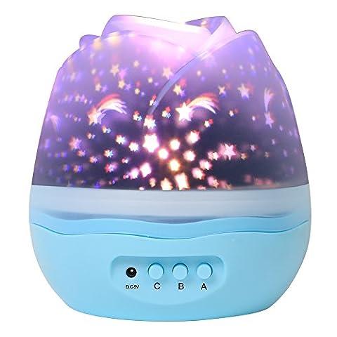 LEMAIKJ Projecteur Lampe, Lampe de Projection 8 Modes, Veilleuse de Nuit, Lumières d'étoile de fleur, 360 Degrés de Rotation, Cadeaux pour Enfants, Décoration de Chambres à coucher de bébé, Décoration d'Anniversaires (Bleu clair)