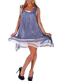 Romantisches Sommerkleid Strandkleid Spitze (Jeansblau)