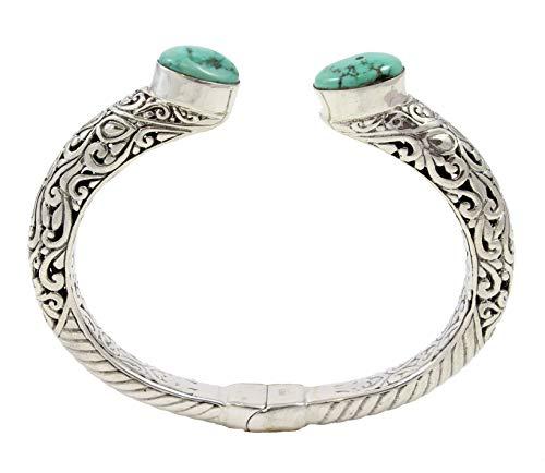Shadi étnico - Brazalete de plata de ley con turquesas (joyería de plata artesanal - regalo - mujer - hombre - Navidad - Reyes - cumpleaños)