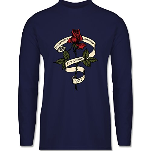 JGA Junggesellenabschied - Junggesellenabschied 2017 Rockabilly Rose - Longsleeve / langärmeliges T-Shirt für Herren Navy Blau