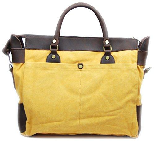 OH MY BAG Sac week-end femme en CUIR et TOILE porté main, épaule et bandoulière Modèle ZANZIBAR Nouvelle Collection JAUNE