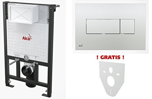 WC Vorwandelement für Trockenbau 100 cm inklusive Betätigungsplatte Chrom Glänzend Typ Quadro Mini Unterputzspülkasten Spülkasten Wand WC hängend Schallschutz