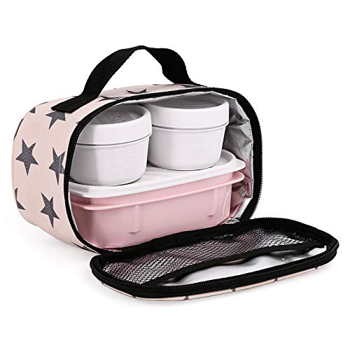TATAY Urban Food MiniPlus Stars - Bolsa Térmica Porta Alimentos con 3 Tápers Herméticos Incluidos, 1 Ovalado 0.5L más 2 Redondos 0.2L Opak, Medidas 21.5 x 9 x 12 cm