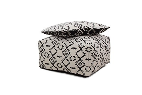 Hocker Sitz-Würfel & Kissen Geometrie Design Unwind Pouf & Cushion Set 160 Bean Bag Rauten Muster...