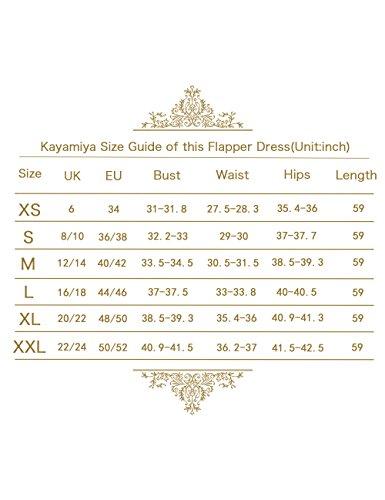 Kayamiya Damen 1920er Jahre Perlen Pailletten Floral Maxi Lange Gatsby Flapper Abendkleid 44-46 Blau - 6