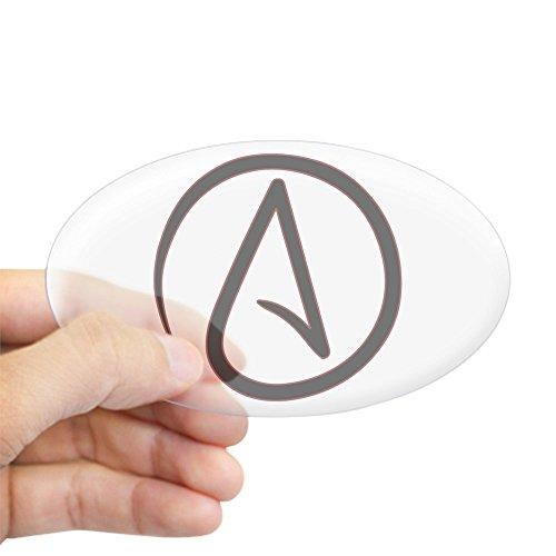 CafePress - Atheist-Symbol (oval) - Ovaler Autoaufkleber, Euro-Oval Small - 3x5 farblos