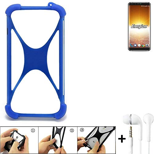 K-S-Trade Handyhülle für Energizer P600S Bumper Schutzhülle Silikon Schutz Hülle Cover Case Silikoncase Silikonbumper TPU Softcase Smartphone, Blau (1x), Headphones