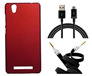 XUWAP Hard Case Cover With Aux Cable & Data Cable For Gionee F103 - Red