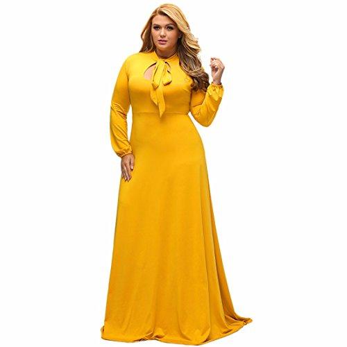 Dress Découper Trou De Serrure Longue Sangle Bowknot Vintage Maxi Patineur Robe Plus Size Jaune