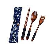 NAttnJf Set di posate portatile, Forcella di cucchiaio di legno bastoncini di legno stile cinese viaggio portatile con custodia Nero