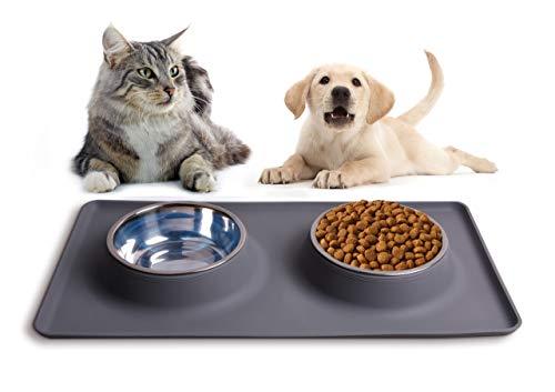 100% sauber: Silikon-Napfunterlage für Ihren Hundenapf oder Katzennapf, grau