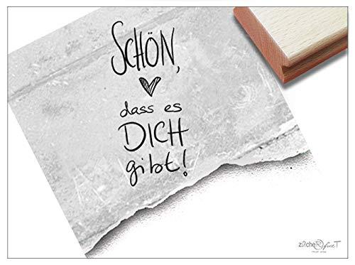Stempel Textstempel SCHÖN, DASS ES Dich GIBT! in Handschrift - 2 Größen - Liebe Freundschaft Familie Karten Briefe Geschenk Deko - zAcheR-fineT (groß ca. 31 x 69 mm) -