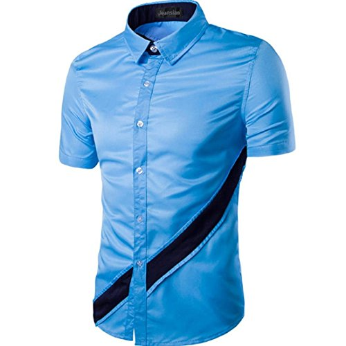 Jeansian Hommes Mode Shirt Chemises Casual Manches Courtes Men's Slim Fit Summer Fashion Shirts Tops 84F3 Skyblue