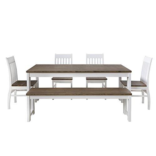 Homestyle4u 1868, Essgruppe mit Bank 1 Tisch und 4 Stühlen, Weiß Braun, Esstisch 180 x 90 cm